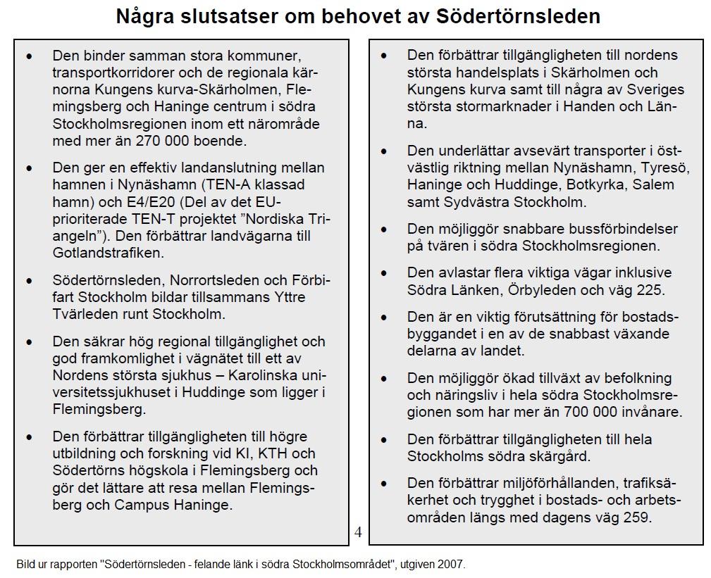 Bild ur Södertörnsleden - felande länk i Södra Stockholsmområdet, 2007