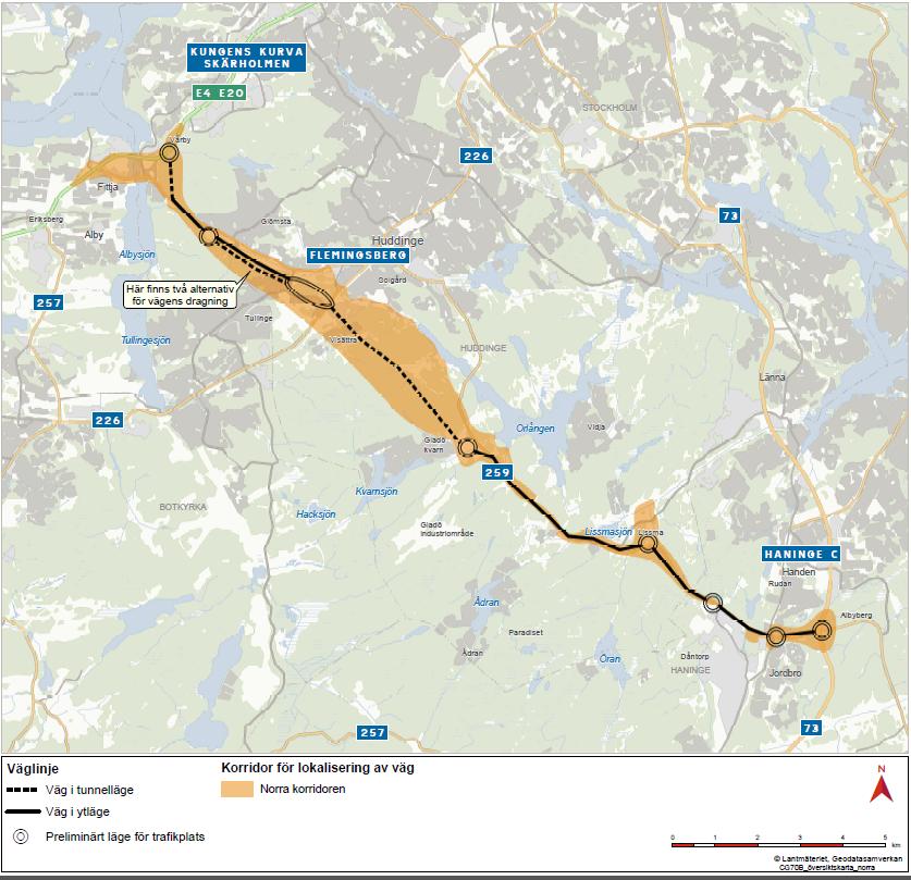 Karta från Trafikverket - Lantmäteriet