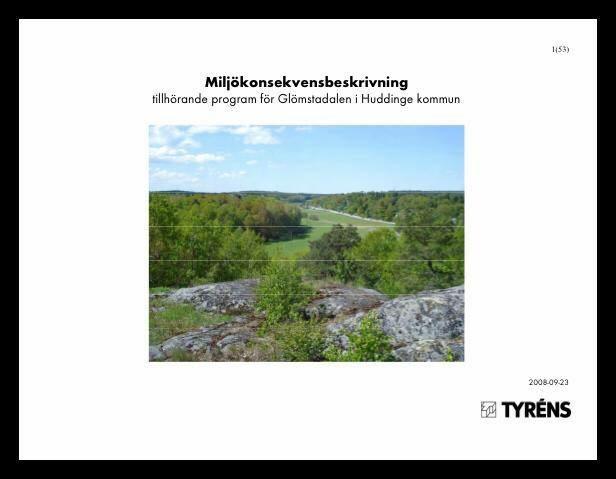 Omslaget till Miljökonsekvensbeskrivning för Glömstadalen utgiven 2008.