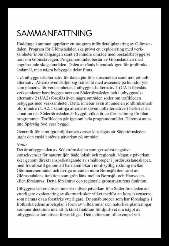 Ur Miljökonsekvensbeskrivningen för program för Glömstadalen från 2008.