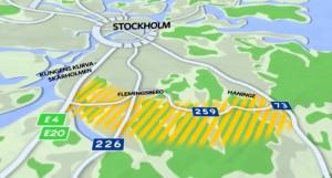 Trafikverkets illustration av vägområdet i informationsfilmen om Tvärförbindelse Södertörn.